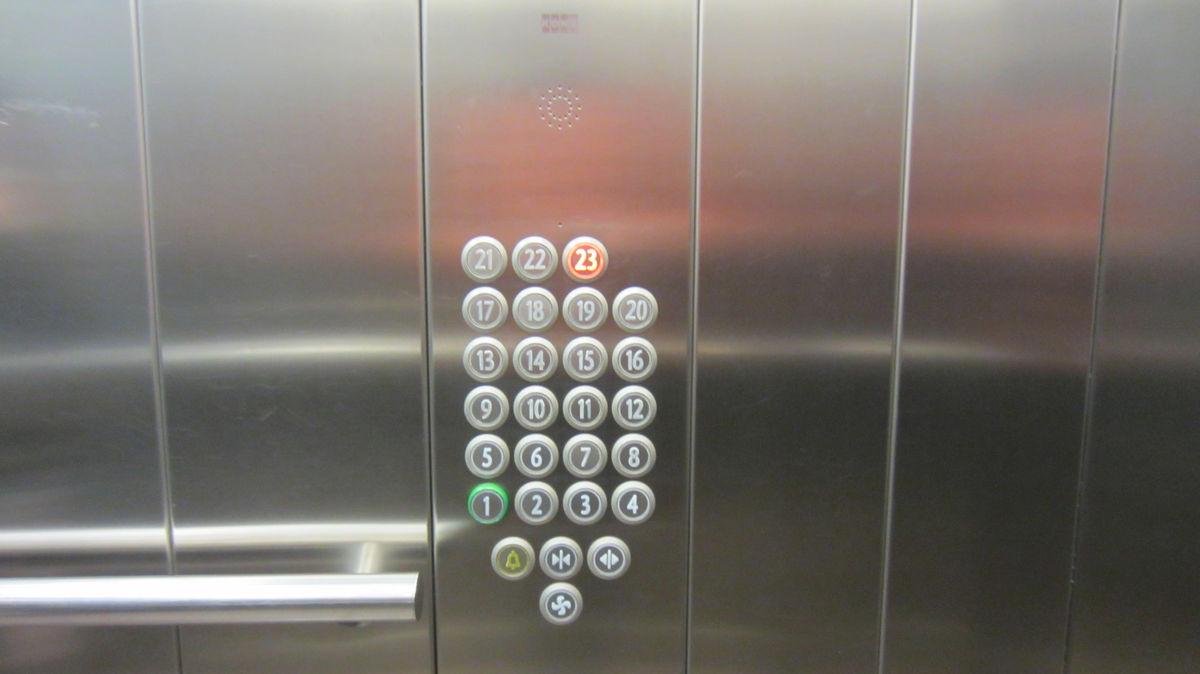 На первом этаже вход, на 22 - кафе, на 23 - крыша. Зачем остальные кнопки?
